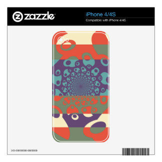 Fantasy Colorful Dots Abstract Retro Art Deco 2 Skin For iPhone 4S