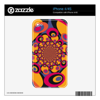 Fantasy Colorful Dots Abstract Retro Art Deco 4 Decal For iPhone 4
