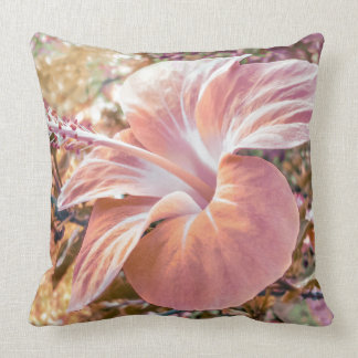 Fantasy Colors Hibiscus Flower Digital Photography Throw Pillow