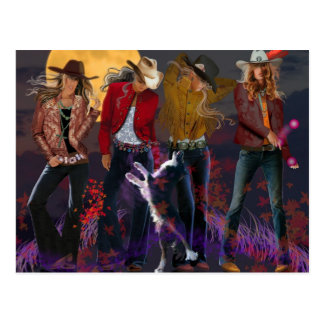 Fantasy cowgirls out in the moonlight with collie post card