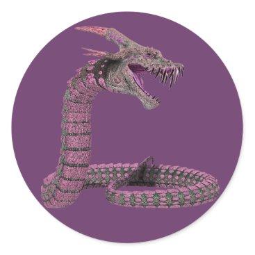 Halloween Themed Fantasy Creature Pink Purple Classic Round Sticker