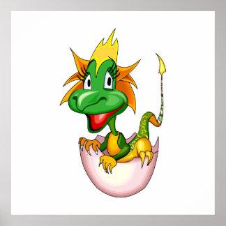 Fantasy Cute Baby Dragon Print