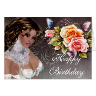 Fantasy Dark Skin Brunette with Rose Birthday Card