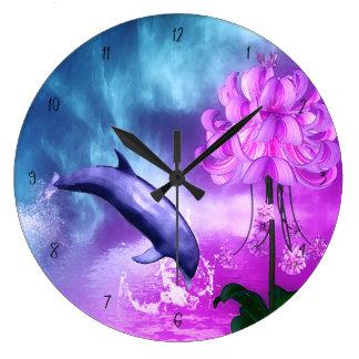 Fantasy Dolphin Large Clock