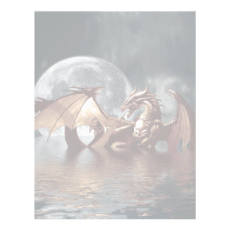 Fantasy Dragon and Rising Moon over Ocean Letterhead