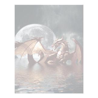 Fantasy Dragon and Rising Moon over Ocean Letterhead