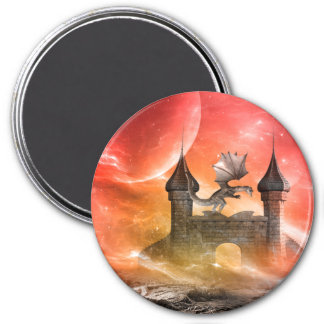Fantasy, dragon on the castle 3 inch round magnet