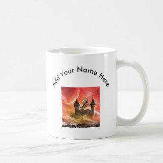 Fantasy, dragon on the castle coffee mug