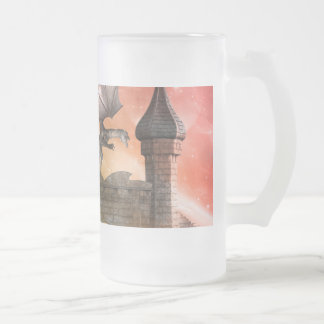 Fantasy, dragon on the castle frosted glass beer mug