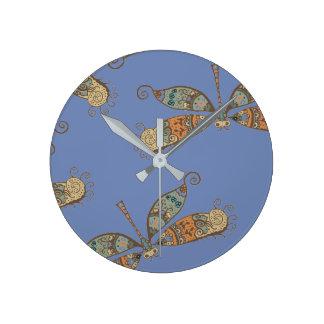 Fantasy Dragonfly Round Clock