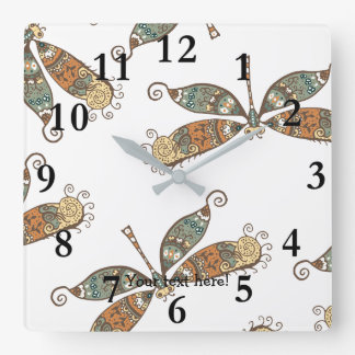 Fantasy Dragonfly Square Wall Clock