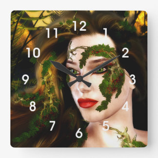 Fantasy Dryad of the Forest Square Wall Clock