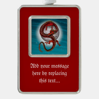 Fantasy Eastern Red Dragon Silver Plated Framed Ornament