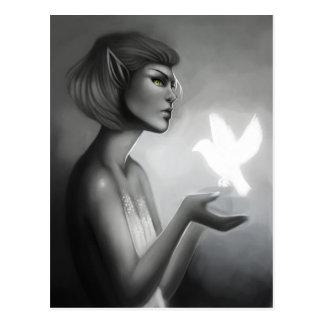 Fantasy Elf with Dove Digital Art Postcard