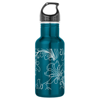 Fantasy Embossed White Floral Stainless Steel Water Bottle