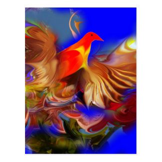Fantasy Exotic Fire Bird Large size by CGB Digital Postcard