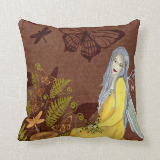 Fantasy Fairy Art Pillow Brown Butterfly Mushroom