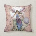 Fantasy Fairy Floral Design Throw Pillow