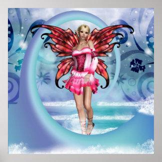 """Fantasy Fairy """"Ocean Blue"""" Wall Art Poster"""