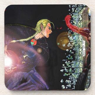 Fantasy Female Elfen Battle Cleric Coaster