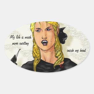 Fantasy Female Elfen Rogue Oval Sticker
