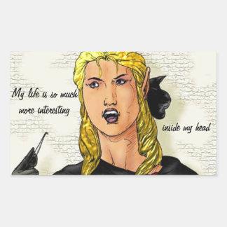 Fantasy Female Elfen Rogue Rectangle Sticker