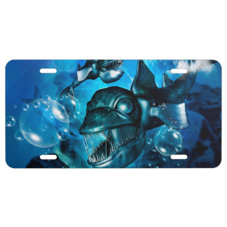 Fantasy fish with bubbles license plate
