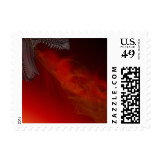 Fantasy Flame Breath Dragon Flaming Stamp