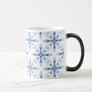 Fantasy Floral Faded Blue Fractal Pattern Magic Mug