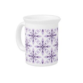 Fantasy Floral Faded Lavender Fractal Art Beverage Pitcher