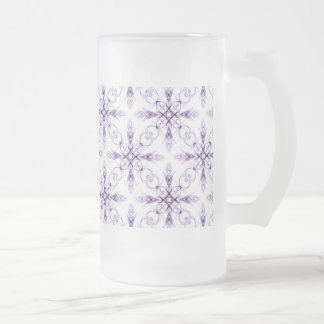 Fantasy Floral Faded Lavender Fractal Art Frosted Glass Beer Mug
