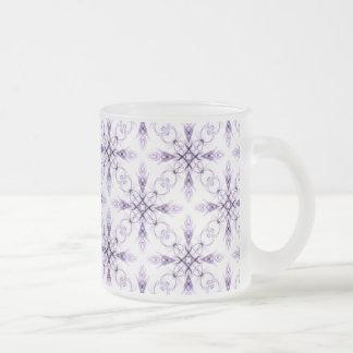 Fantasy Floral Faded Lavender Fractal Art Frosted Glass Coffee Mug