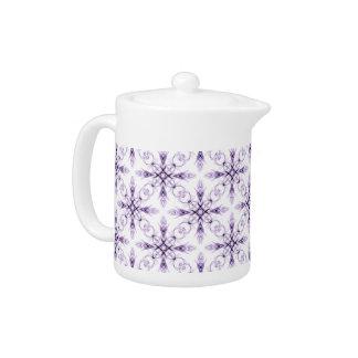 Fantasy Floral Faded Lavender Fractal Art Teapot