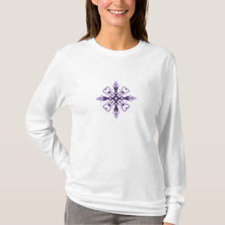 Fantasy Floral Hearts Purple Fractal Art T-Shirt