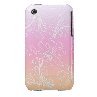 Fantasy Floral on Rainbow Sherbet Background iPhone 3 Cover