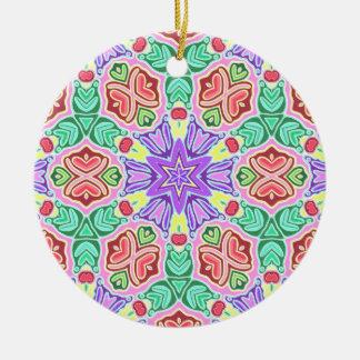 Fantasy Floral Pattern Ceramic Ornament