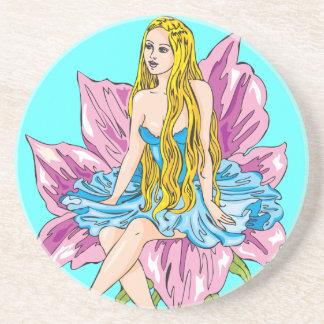 Fantasy Flower Girl Sandstone Coaster