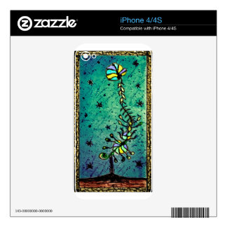 Fantasy Flower Hand Draw Illustration iPhone 4 Skin