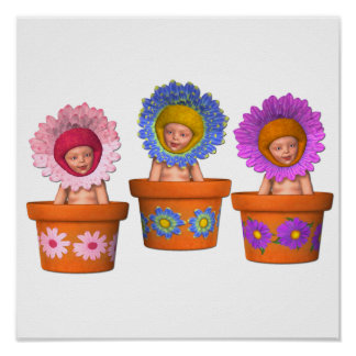 Fantasy Flower Pot Babies Poster