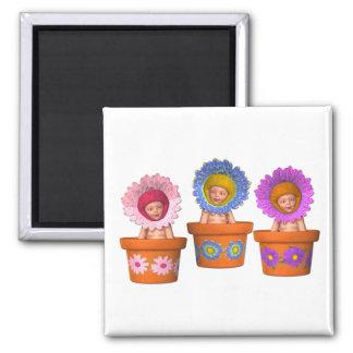 Fantasy Flower Pot Babies Square Magnet