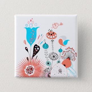 Fantasy Flowers and Birdie Button