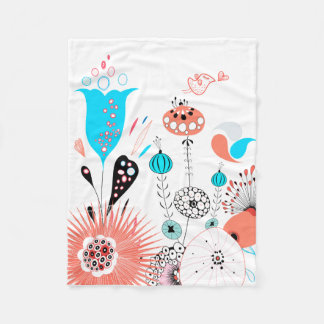 Fantasy Flowers and Birdie Fleece Blanket