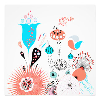 Fantasy Flowers and Birdie Photo Print