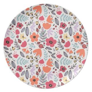 Fantasy flowers melamine plate
