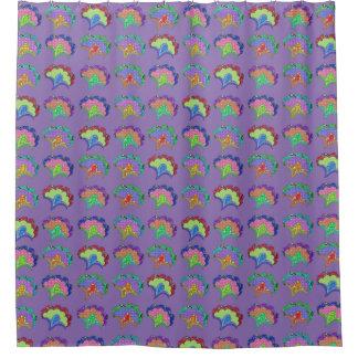 Fantasy Flowers on Purple Shower Curtain