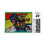 Fantasy flowers postage stamp