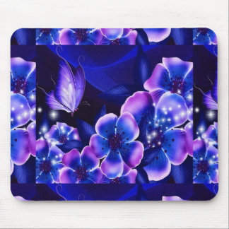 Fantasy flowers purple and blue mouse pad