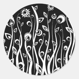 fantasy flowers round sticker
