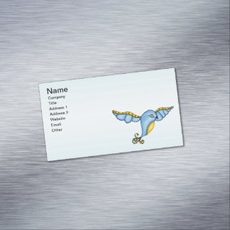 Fantasy Flying Blue Bird Magnetic Business Card