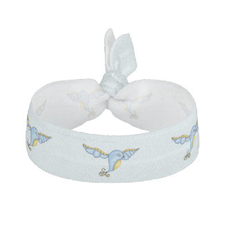 Fantasy Flying Blue Bird Ribbon Hair Ties